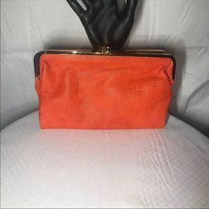 Handbags - Orange Leather Wallet Clutch